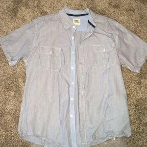 Men's paper denim and cloth stripes shirt sleeve